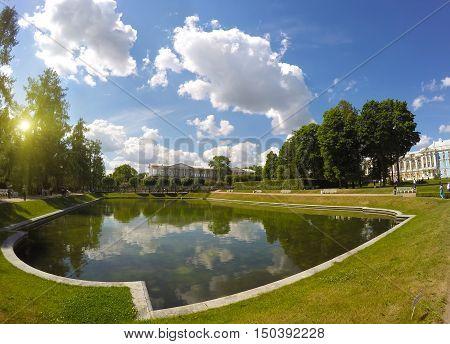 bank of the Mirror pond. Catherine Park. Pushkin (Tsarskoye Selo). Petersburg