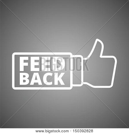 White Feedback icon sign on gray background