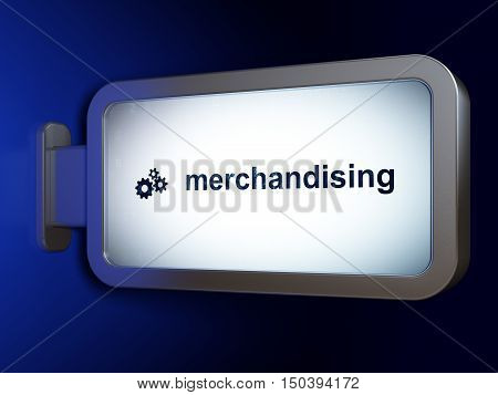 Marketing concept: Merchandising and Gears on advertising billboard background, 3D rendering