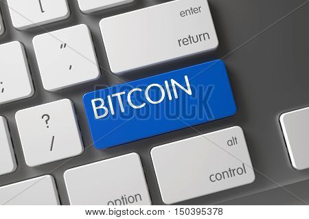 Bitcoin Concept White Keyboard with Bitcoin on Blue Enter Key Background, Selected Focus. 3D Render.
