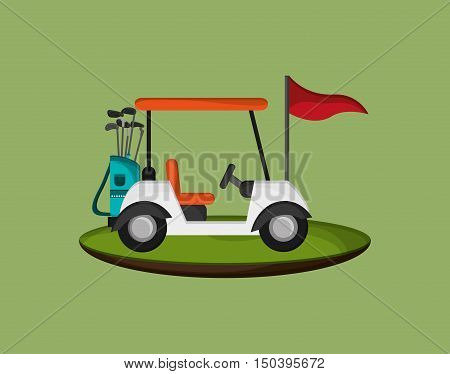 golf cart with golfing related icons image vector illustration design