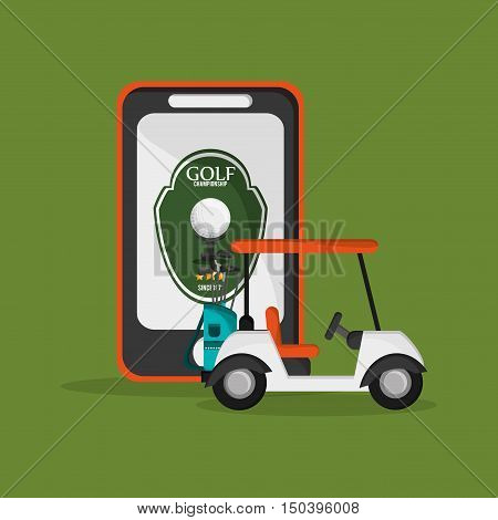 golf cart with golfing related icons and cellphone image vector illustration design