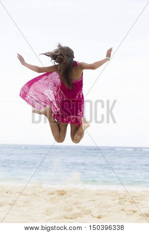 Happiness Girl Jumping