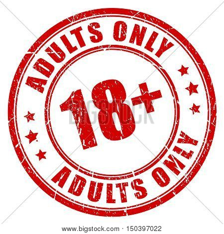 Under 18 rubber stamp, adults only vector illustration isolated on white background