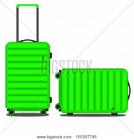 image of light green two suitcases, vector