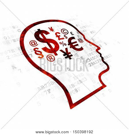 Business concept: Pixelated red Head With Finance Symbol icon on Digital background