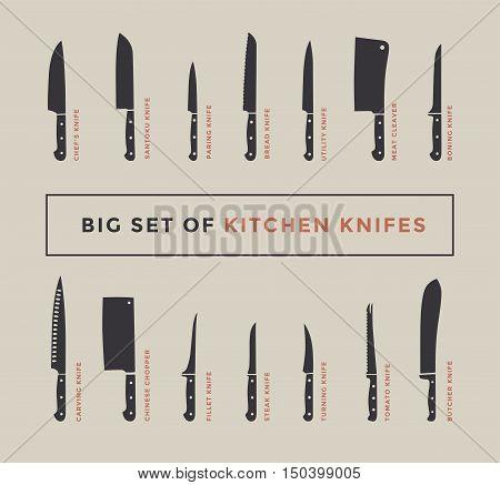 Big Set Of Kitchen Knives With Names. Vector Illustration.