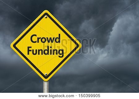 Yellow Warning Crowd Funding Highway Road Sign Red Yellow Warning Highway Sign with words Crowd Funding with stormy sky background 3D Illustration