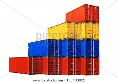 Ten differently colored sea containers stacked isolated on white background.