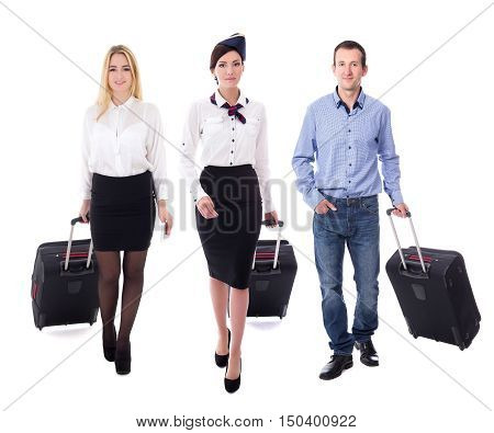 Aviation Concept - Young Attractive Stewardess And Passengers Walking With Suitcases Isolated On Whi