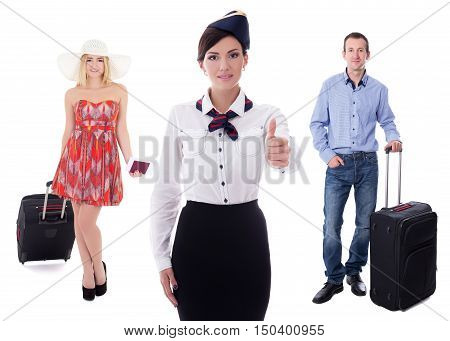 Young Attractive Stewardess And Passengers With Suitcases Isolated On White