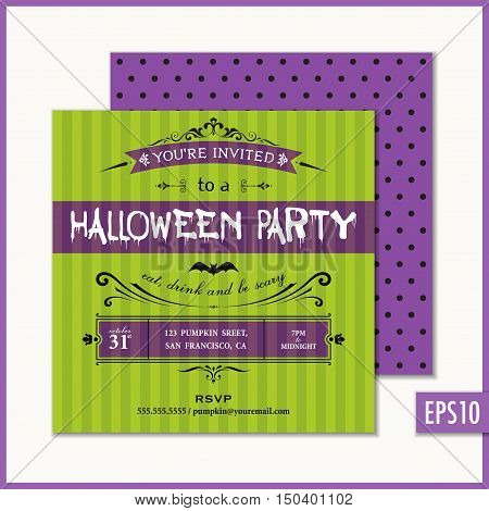 Halloween Invitation Green Bat. Holiday party invitations.  Vector illustration.