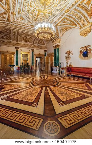ST. PETERSBURG, RUSSIA - AUGUST 19, 2016:  Magnificent Interior of the State Hermitage (Winter Palace). Hermitage is one of the largest and oldest museums of art and culture in the world