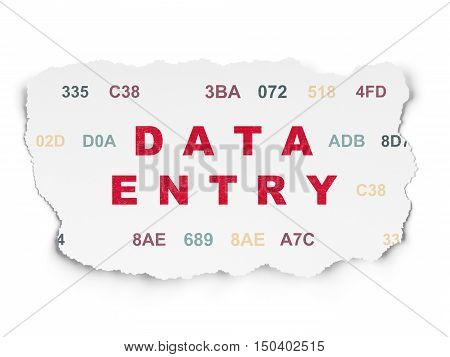 Information concept: Painted red text Data Entry on Torn Paper background with  Hexadecimal Code