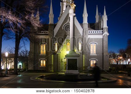 Part of Salt Lake City Temple by night
