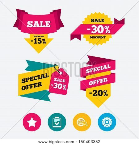 Star favorite and globe with mouse cursor icons. Checklist and cogwheel gear sign symbols. Web stickers, banners and labels. Sale discount tags. Special offer signs. Vector