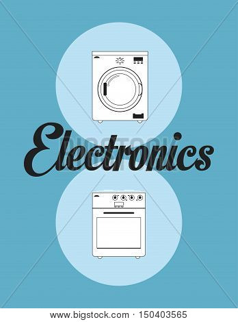 oven stove and washing machine home electronic appliances image vector illustration