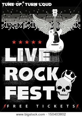 Rock Fest Poster in black and red colors