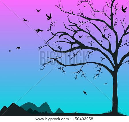 Silhouette of a tree and the birds of the mountains at dawn