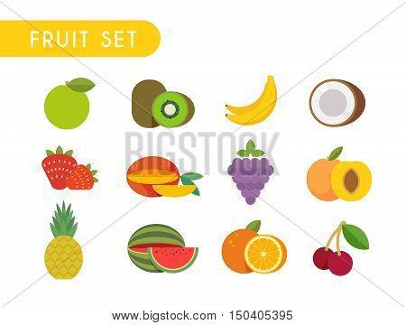 Set of flat color icons. Fruits: Apple, kiwi, coconut, banana, strawberry mango grape peach pineapple watermelon orange cherry