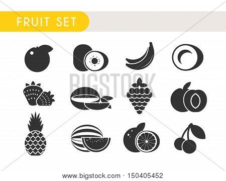 Set vector icons. Fruits: Apple, kiwi, coconut, banana strawberry mango grape peach pineapple watermelon orange cherry