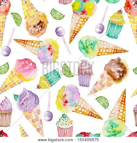 Seamless pattern with bright, tasty and appetizing ice cream and confection painted in watercolor on a white background