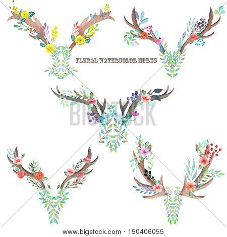 A set with the antlers, horns entwined by flowers, leaves and plants, isolated hand drawn in watercolor on a white background
