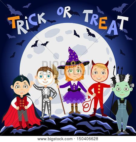 Children in halloween costumes. Vampire Dracula devil witch zombie skeleton. Halloween background