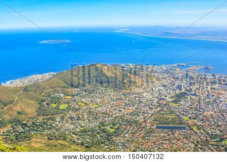 The Cape Town City Bowl as seen from Table Mountain National Park in South Africa, Western Cape. Aerial view of the Cape Town Harbour and Signal Hill.