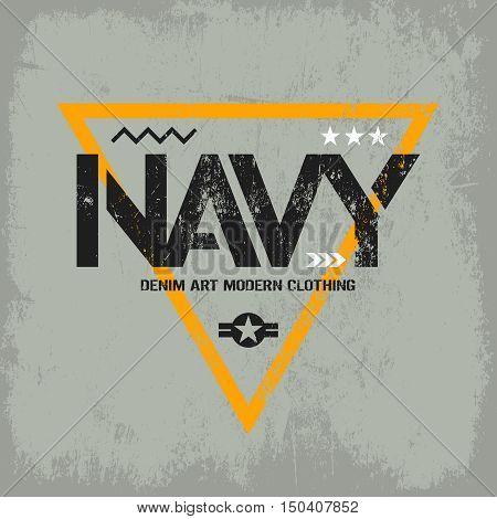 Modern american navy grunge effect tee print vector design isolated on light background.  Premium quality superior military shabby logo concept. Threadbare warlike label for light t-shirt.