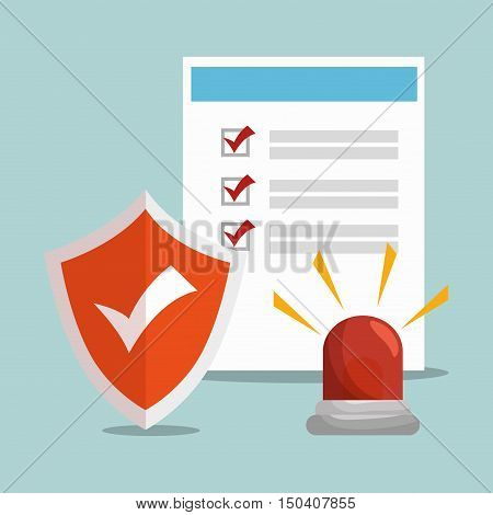 checklist security insurance document and emergency siren and shield checked. vector illustration