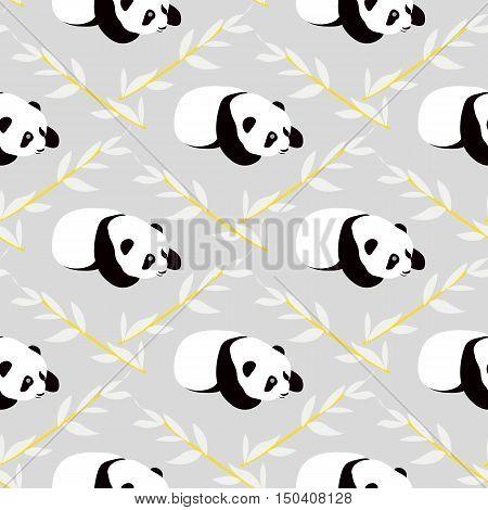 Panda bear vector background. Seamless pattern with cute cartoon panda.
