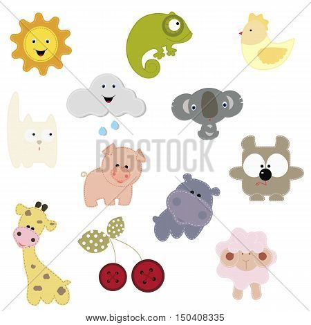 set of patches with the animals and others. baby collection patches for design and decoration clothing t-shirts. Vector illustration