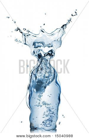 bottle from water and splash isolated on white