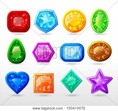 Gui cartoon buttons set including gems of different color and shape with frame isolated vector illustration