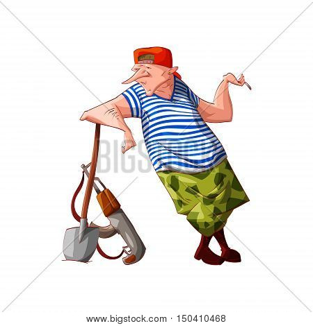 Colorful vector illustration of a cartoon rebel / separatist guerilla fighter with cammo pants and sailors t-shirt digging with a shovel