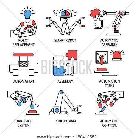 Colored isolated assembly icon set in linear style with robot replacement smart robot start stop system descriptions vector illustration
