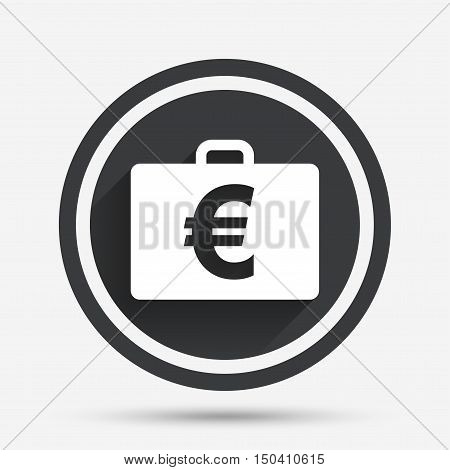 Case with Euro EUR sign icon. Briefcase button. Circle flat button with shadow and border. Vector