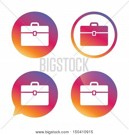 Case sign icon. Briefcase button. Gradient buttons with flat icon. Speech bubble sign. Vector