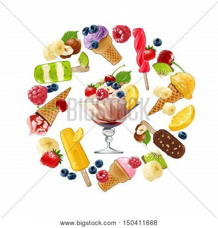 Set of vector icons of ice cream with different fruits, berries and nuts arranged in a circular frame