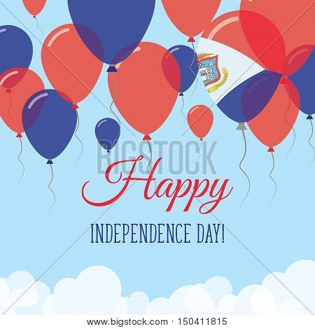 Sint Maarten Independence Day Flat Greeting Card. Flying Rubber Balloons In Colors Of The Dutch Flag