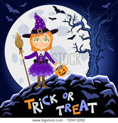 Happy Halloween. Girl in halloween costume. Witch with broomstick and pumpkin