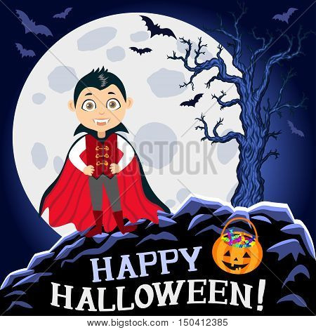 Happy Halloween. Boy in halloween costume. Vampire dracula with bag full candies