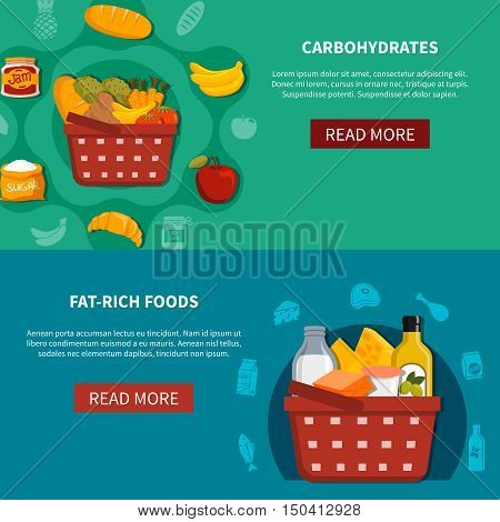 Supermarket food 2 horizontal banners set with read more button basket carbohydrates fat rich foods green blue background flat vector illustration