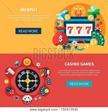 Casino horizontal banners set with jackpot pockie dice roulette games flat illustration