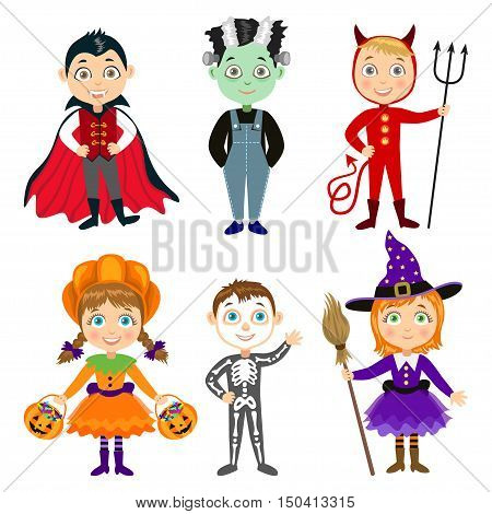 Set of Children in halloween costumes. Vampire Dracula devil witch pumpkin zombie skeleton. Halloween characters