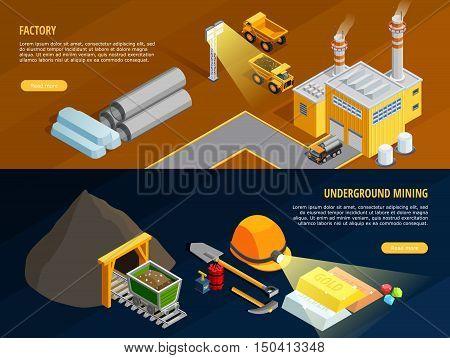 Mining horizontal banners set with underground mining symbols isometric isolated vector illustration