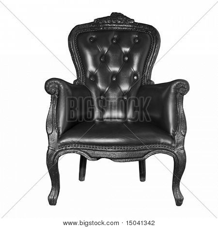 antique black leather chair isolated on white