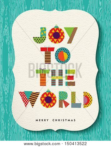 Colorful Merry Christmas greeting card design happy holiday quote with fun vibrant text made of geometric xmas shapes. EPS10 vector