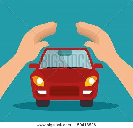 protective hands holding a car. security insurance service. colorful design. vector illustration